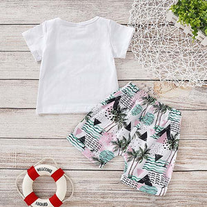 Letter Print Short-sleeve Tee And Floral Shorts Set, zoerea.com