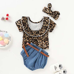 3-piece Leopard Short-sleeve Top And Denim Shorts, zoerea.com