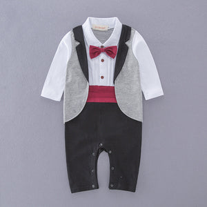 Handsome Plaid Faux-two Bow Tie Jumpsuit, zoerea.com