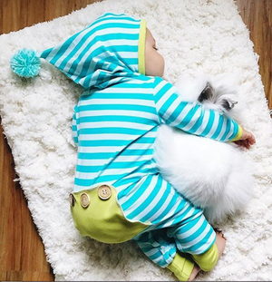 Trendy Striped Hooded Jumpsuit For Baby, zoerea.com