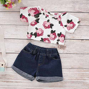 Floral Print Top And Denim Shorts Set, zoerea.com