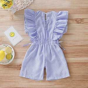 Cute Striped Embroidery Ruffle-sleeve Romper, zoerea.com