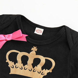 MINI BOSS Bowknot Crown Print Bodysuit, zoerea.com