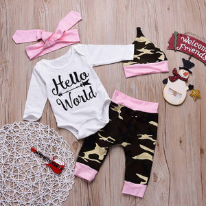 HELLO WORLD Bodysuit, Camouflage Pants And Headband And Hat Set, zoerea.com