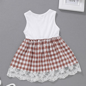Baby Girls' Active / Street chic Plaid / Patchwork Sleeveless Dress, zoerea.com