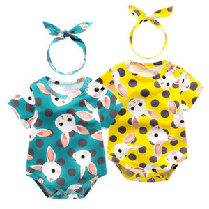 2-piece Colorful Print Cotton Romper And Headband, zoerea.com