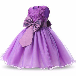 Flowers Appliques Lace Bowknot Princess Girl Dress, zoerea.com