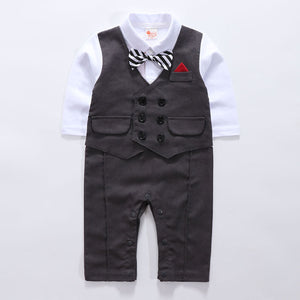 Faux-two Gentleman Romper With Bow Tie, zoerea.com