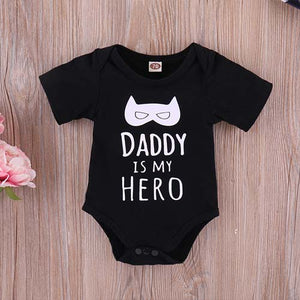 3-piece Daddy's My Hero Letter Print Bodysuit, Pants With Hat Outfit, zoerea.com