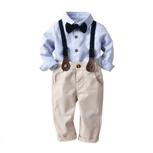 Bow Tie Decor Shirt & Suspender Pants Set, zoerea.com