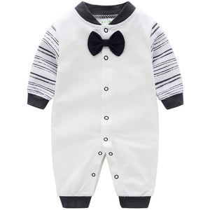 Gentleman Striped Print Bow Tie Jumpsuit, zoerea.com