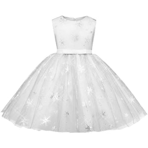 Beautiful Snowflake Print Sleeveless Dress - zoerea.com