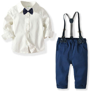Bow Tie Decor Shirt and Suspender Pants Set, zoerea.com