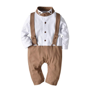 Faux-two Color Blocked Gentleman Romper, zoerea.com
