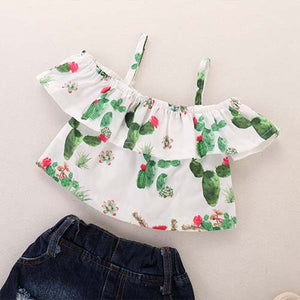 Ruffled Cactus Top And Ripped Denim Shorts Set, zoerea.com