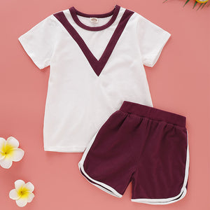 Toddler Unisex Active Daily Print Print Short Sleeve Regular Cotton Clothing Set, zoerea.com