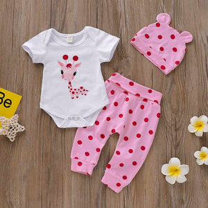 Cute Giraffe Print Romper, Polka Dot Pants and Hat Set, zoerea.com