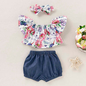 3-piece Floral Top, Denim Shorts And Headband Set, zoerea.com