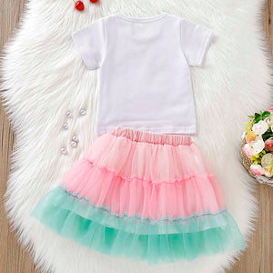 Cute Rainbow Print Tee And Tulle Skirt Set, zoerea.com