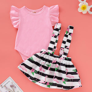 Baby Girls' Stripe Ruffle / Print Short Sleeve Regular Cotton Clothing Set, zoerea.com