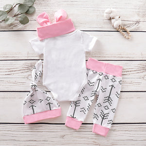 Baby Girls' Active Daily Print Short Sleeve Long Cotton Clothing Set, zoerea.com