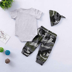 WILD LIFE Bear Print Bodysuit and Camouflage Pants with Hat Set, zoerea.com