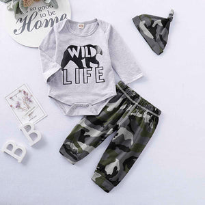 WILD LIFE Bear Print Long-sleeve Bodysuit and Camouflage Pants with Hat Set, zoerea.com