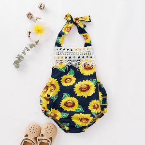 Baby Girl Lace Decor Strap Sunflower Romper, zoerea.com