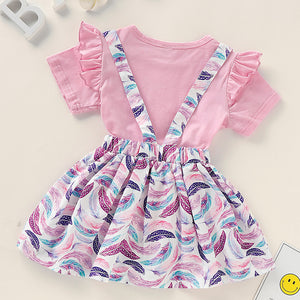 Baby Girls' Basic Print Short Sleeve Regular Cotton Clothing Set, zoerea.com