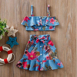 2-piece Floral Strap Top And Dress Set, zoerea.com