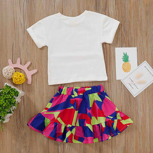 Lovely Pinapple Print T-shirt And Color Contrast Skirt, zoerea.com