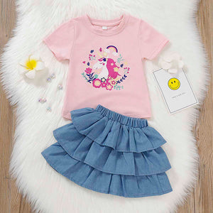 Pretty Unicorn Design Top And Cake Skirt Set, zoerea.com