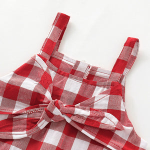 One Piece Bowknot Decor Plaid Suspender Strap Jumpsuit, zoerea.com
