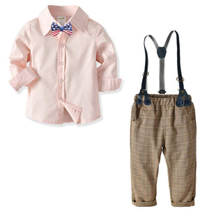 Blue Shirt and Plaid Suspender Gentleman Outfit - zoerea.com