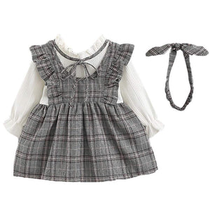 Pretty Faux-two Ruffled Plaid Dress, zoerea.com