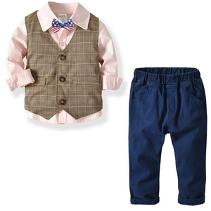 3-piece Bow Tie Shirt & Plaid Vest & Pants Set, zoerea.com