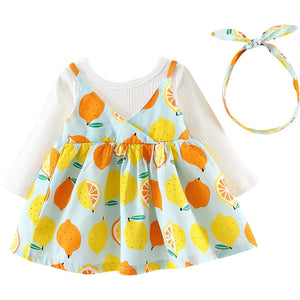Sweet Lemon Pattern Faux-two Dress with Headband, zoerea.com