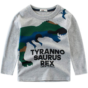 Fashionable Dinosaur Print Long-sleeve Tee, zoerea.com