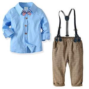 Blue Shirt and Plaid Suspender Gentleman Outfit, zoerea.com