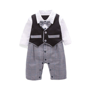 Baby Boy Gentleman Plaid Bow Tie Jumpsuit, zoerea.com