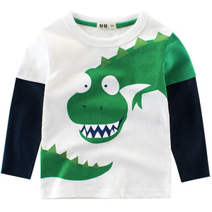 Faux-two Cute Dinosaur Print Long-sleeve Tee, zoerea.com