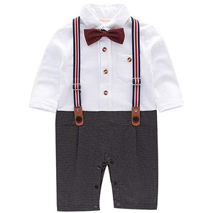 Trendy Faux-two Gentleman Romper, zoerea.com