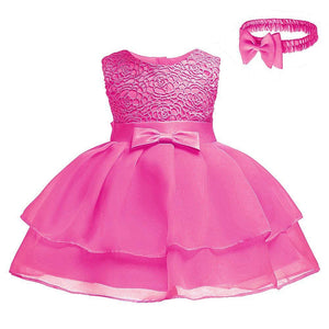 Baby Girl's Elegant Sleeveless Solid Ruffled Party Dress, zoerea.com