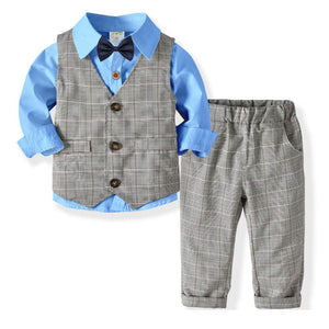Gentleman Bow Tie Shirt And Plaid Pants Set, zoerea.com