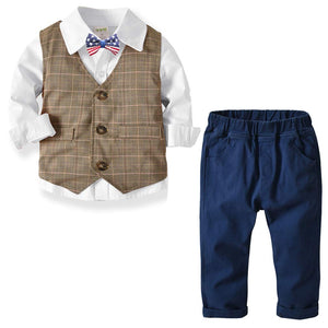 3-piece Bow Tie Shirt & Plaid Vest & Pants Set - zoerea.com