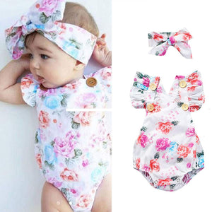 Pretty Floral Pattern Bodysuit And Headband Set, zoerea.com