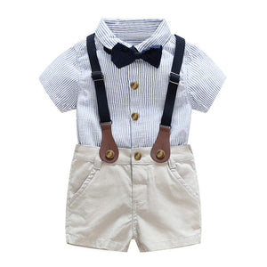 Solid Lapel Collar Striped Shirt And Shorts Set, zoerea.com