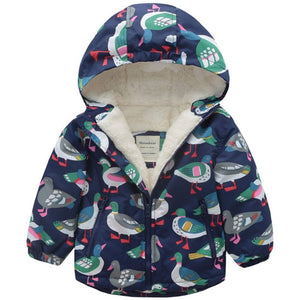 Warm Bird Print Long-sleeve Hooded Coat, zoerea.com