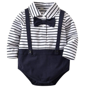 Baby Faux-two Striped Bow Decor Bodysuit, zoerea.com