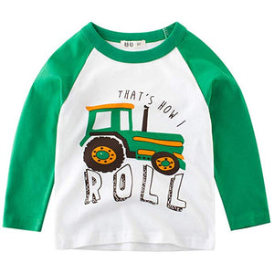 Stylish Car Print Long-sleeve Cotton T-Shirt, zoerea.com